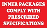 NMC DL169AL 3'' x 5'' Hazardous Materials Dot Shipping Label - ''Inner Packages Comply With Prescribed Specifications'', PS Paper, 5 Rolls of 500 pcs