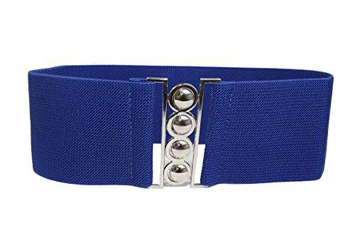 Modeway Women 3inch Fashion Wide Belt Elastic Stretch Waist Belt , Metal Buckle Waistband (M-L, Royalblue)A4-2