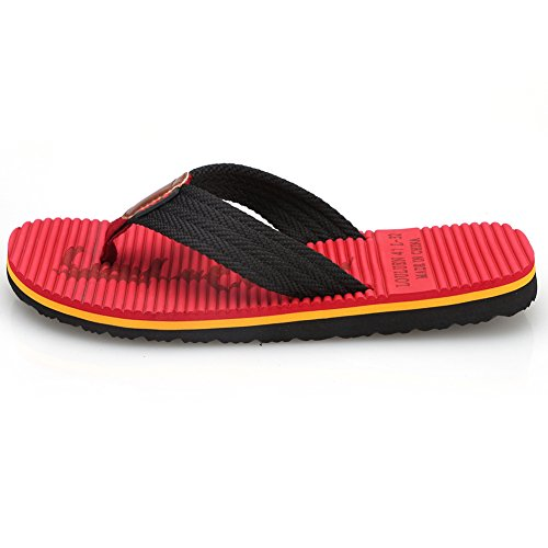 Sandals and Classical Comfortable Indoor Flip Thong Flop 02 Beach CIOR Outdoor Handmade Slipper Red Fashion Men's 1qT51x0