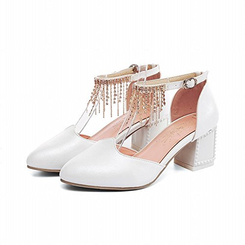 Carolbar Womens Buckle Chains Tassels Rhinestone Ankle Strap Sweet Fashion Chunky Mid Heel Dress Sandals White V6fJIQ