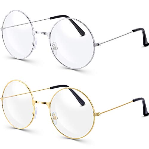 BM Bememo 2 Pairs of Wizard Glasses Round Wire Costume Glasses Accessories for Dressing Up (Gold and Silver)]()