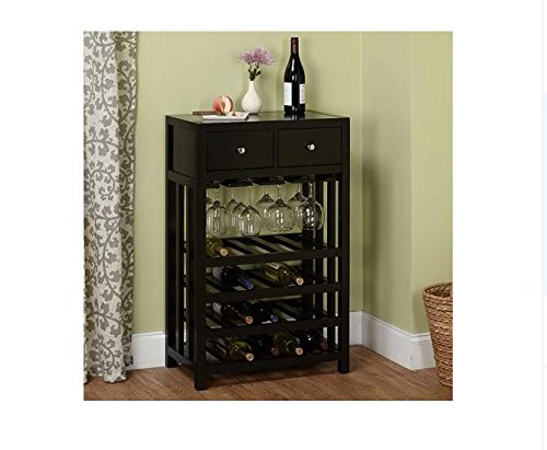 Wine Cabinet | This Beautiful Modern Black Wine Rack Cabinet Can Display up to 20 Wine Bottles, Your Glasses, and Any Accessories in the Added Storage Drawers. This Furniture Will Add a Sleek Modern Touch to Your Home Decor Guaranteed.