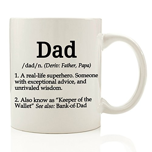 Dad Definition Funny Coffee Mug 11 oz - Top Christmas Gifts For Dad - Gift For Him, Men - Perfect Novelty Birthday or Fathers Day Present Idea For Father from Son or Daughter