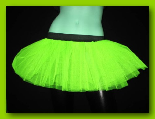 Uv Neon Lime Yellow Mini Tutu Skirt Petticoat Punk Rave Dance Fancy Costume Dress Party]()