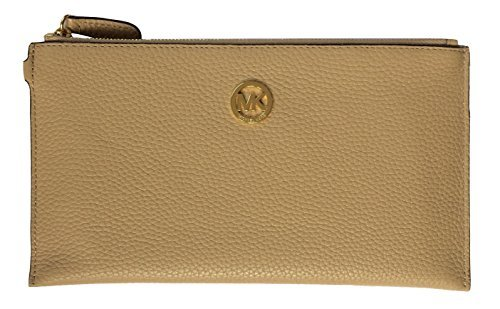 Michael Kors Fulton Large Leather Top Zip Clutch and Wristlet (Dark Camel)