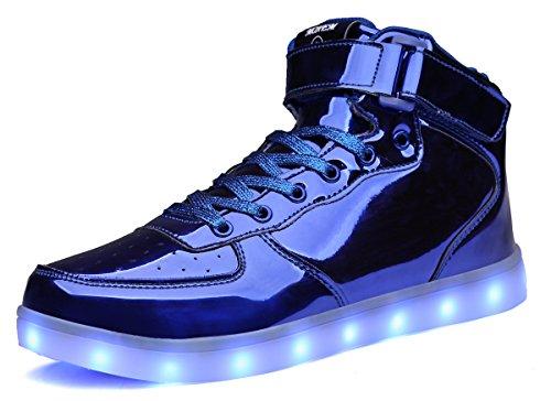 MOHEM ShinyNight High Top LED Schuhe leuchten USB Lade Flashing Sneakers Glänzendes Blau-1