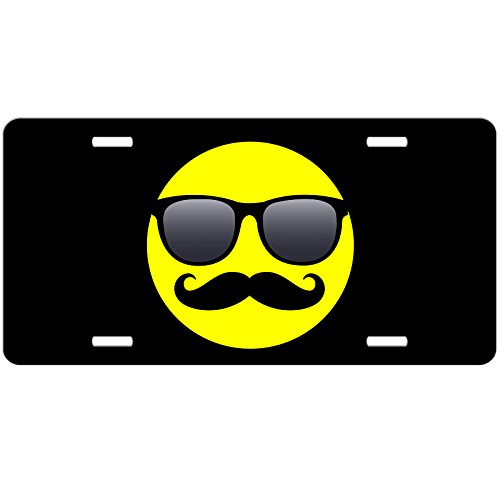 Smiley Face Car Tag - Sunglasses Shades Mustache - Front License Plate - Custom Black - Smiley With Shades Face