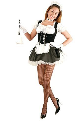 Charades Women's French Maid with Petticoat, Black Medium