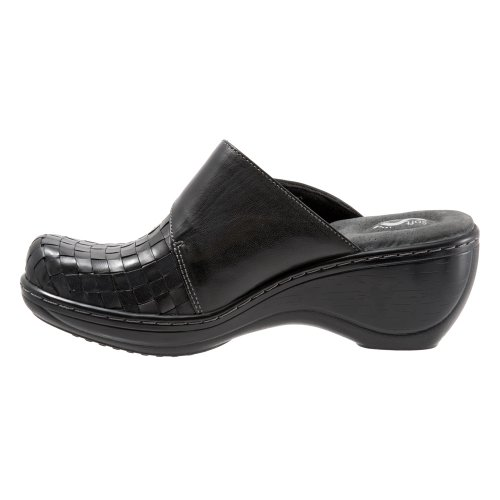 Softwalk Womens Memphis Clog Nero Brunito Veg Kid In Pelle