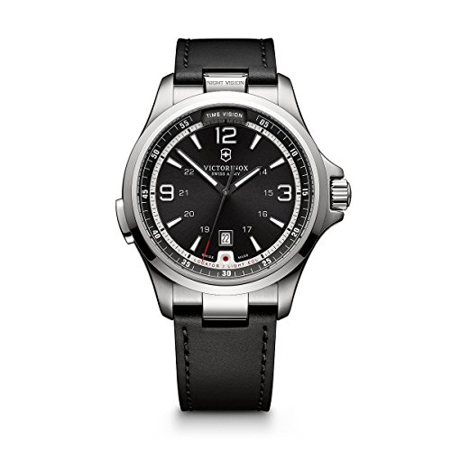 Victorinox Men's Night Vision Titanium Swiss-Quartz Watch with Rubber Strap, Black, 21 (Model: 241664)