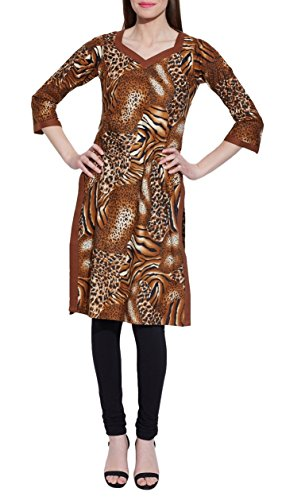 Long Sleeve V-neck Brown Print Cotton Dress – Unique Women's Fashions – Size: 34…Length-39 Inch, Bust- 38 Inch