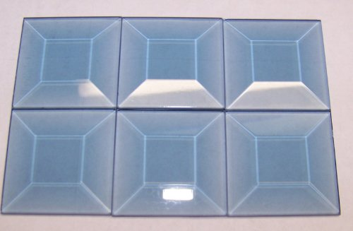 Stained Glass 1.5 X 1.5 Pale Blue Square Bevels 6 Pack