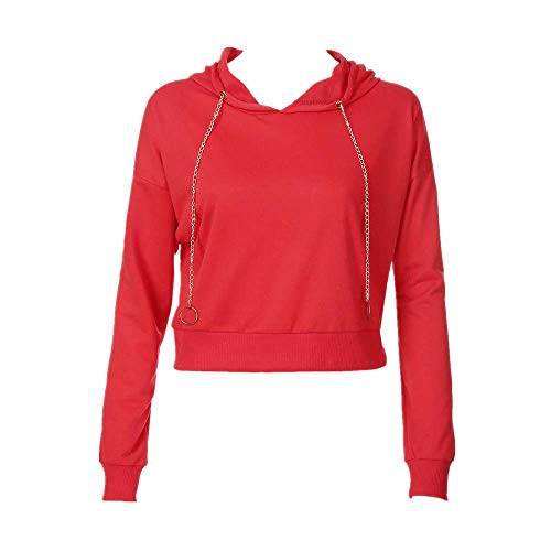 Kulywon crop top hoodie Womens Long Sleeve Solid Sweatshirt Pullover Hoodie Tops Blouse(M,Red)