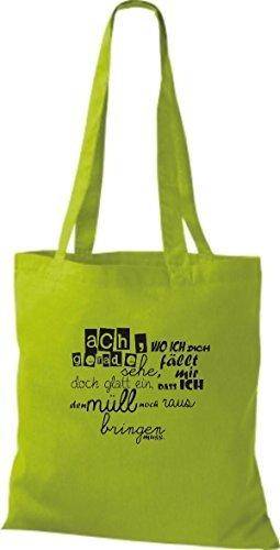 ShirtInStyle Bolso de tela Bolsa de algodón Tipo ach wo ich dich grados me veo Basura - fucsia, 38 cm x 42 cm verde lima