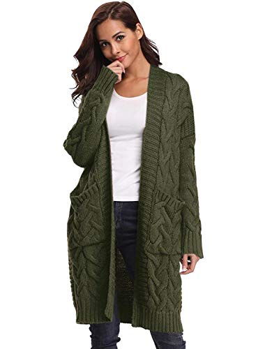 Doballa Women's Chunky Boyfriend Open Front Long Sleeve Cable Knit Aran Twisted Cardigan Sweaters Coat With Pockets (M, Army Green) -