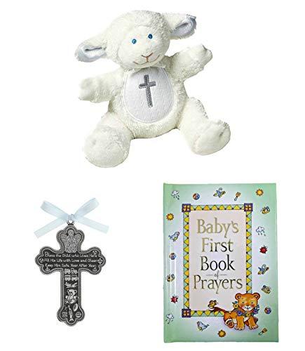(Baby Christening Baptism Gift Set – Pewter Crib Cross Lamb and Book of Prayers (Blue_Prayer))