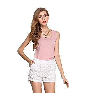 Lucao Women's Candy-Colored Chiffon Halter Sleeveless Vest Blouse Tops T-Shirt Pink-XL