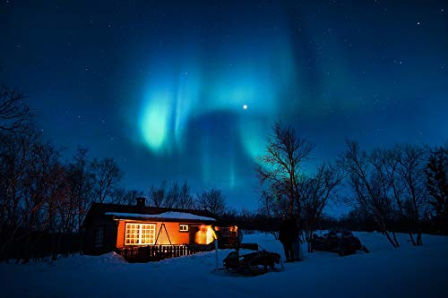 Home Comforts Peel-n-Stick Poster of Aurora Borealis Cabin Blue Lights Cold Night Vivid Imagery Poster 24 x 16 Adhesive Sticker Poster Print (Best Cabins On Aurora)