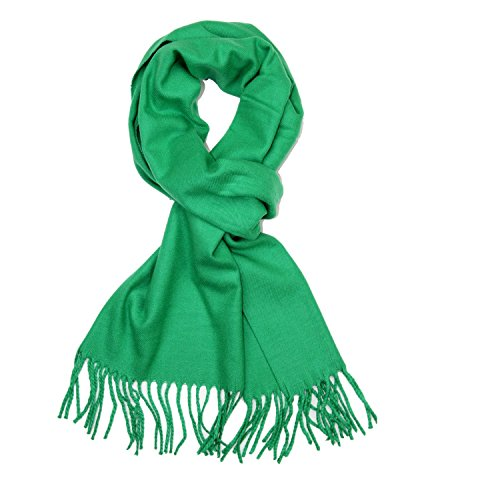 Plain Solid Color Cashmere Feel Classic Soft Luxurious Winter Scarf For Men Women (Green) from TZ Promise