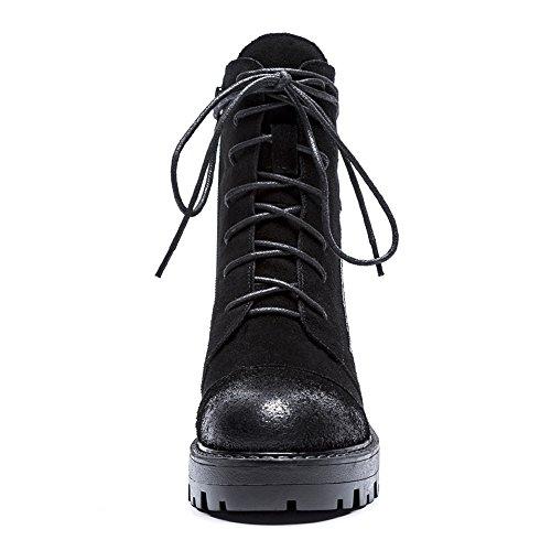 Nubuck Innovativo Q1901 Stivaletti Inverno Pelle Stivaletti Comoda Donna KJJDE Black 35 Piatto Autunno WSXY qwXIBxf