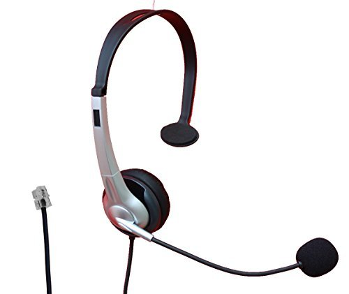 Voistek Monaural Call Center Telephone Headset Headphone with Flexible Noise Cancelling Microphone for Nortel Norstar Northern Telecom Meridian NEC Toshiba Inter-Tel Shoretel Aastra Packet8 Mitel 3Com ESI Talkswitch and Iwatsu ()
