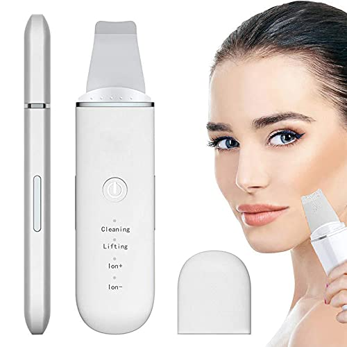 Face Skin Scrubber,Skin Spatula,Blackhead Remover Pore Cleaner with 4 Modes,Facial Scrubber Spatula for deep cleansing,2 Silicone Covers Included