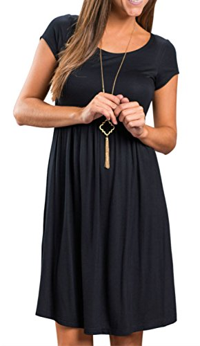 Artfish Women Short Sleeve Empire Waist Tunic Dresses (M, Black) (Short In Black Dress Empire Sleeve)