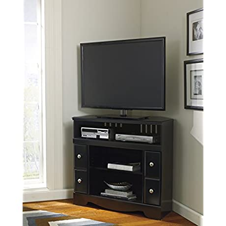 Shay Black Corner TV Stand Fireplace OPT