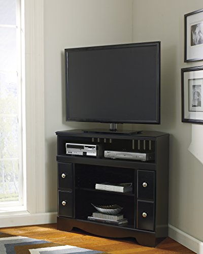 Shay Black Wood Corner TV Stand (Right Pier Lighted)