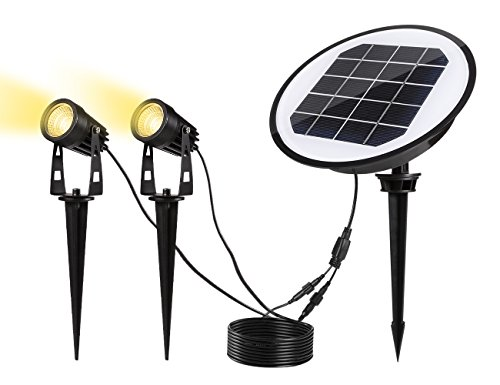 ECOWHO Solar Powered Landscape Lighting Spotlight Waterproof Outdoor Decorative Lights for Patio Yard Garden Driveway Pathway (Warm White)