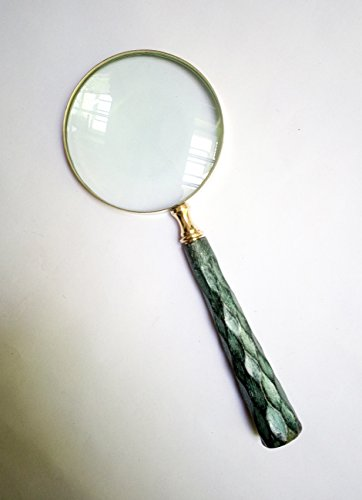Coloured Dark Blue Handheld Magnifier with 3 inch Premium Brass Framed Magnifying Glass with Wooden Carved Handle | Office Ware Decorative Zooming Lens By Hind Handicrafts - Unbreakable Spectacles