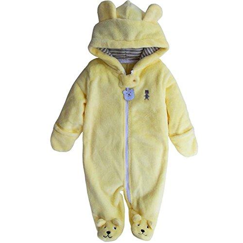 Baby Boy Girl Bodysuit Hooded Fleece Romper Infant Warm Onesies 3-12M Yellow 9-12M