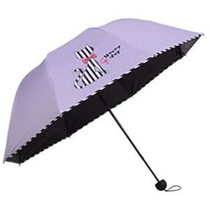 Cute Cat Design Sun Rain Folding Umbrella Striped Print (Purple)