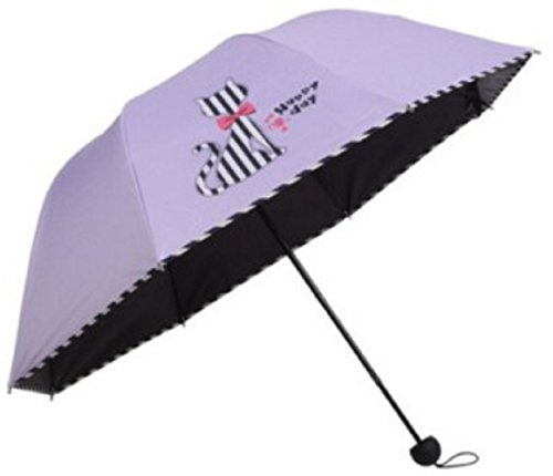 Cute Cat Design Sun Rain Folding Umbrella Striped Print (Purple)