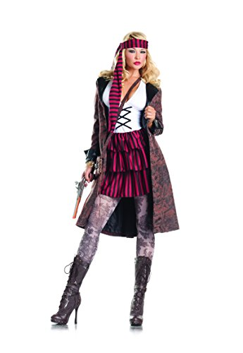 [Be Wicked Costumes Women's Provocative Pirate Costume, Brown/Red/Black/White, Medium/Large] (Provocative Costumes)