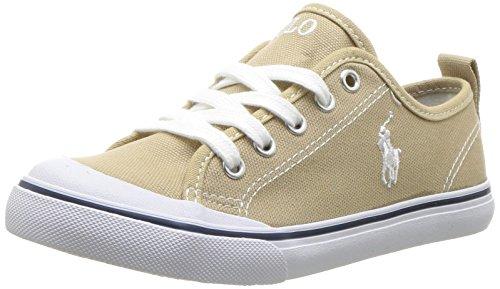 (Polo Ralph Lauren Kids Unisex Carlin Sneaker, Khaki, 5 Medium US Big Kid)