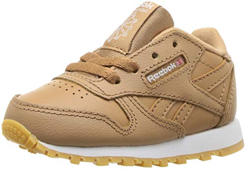 Reebok Unisex Classic Leather Sneaker, Gum-Soft Camel/White, 1 M US Little Kid (Trainers Girls Childrens)