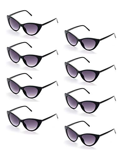 Onnea fashion 8 Pack 80s Vintage Retro Party Favors Cat Eye Wholesale Sunglasses]()