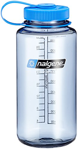 Nalgene Tritan Wide Mouth BPA-Free Water Bottle, Gray/Blue Lid, 1 Quart