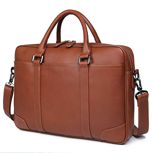Texbo Genuine Leather 15.6 Inch Laptop Briefcase Messenger Bag Tote Fit Business Travel ()