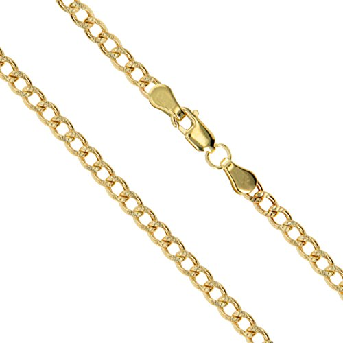 10k Yellow Gold-Hollow Pave Curb Link Chain 2mm Necklace 24