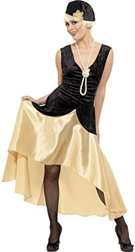30fe3ea964acc Ladies 1920s 1930s Gatsby Girl Black Gold Flapper Fancy Dress Costume  Outfit Plus Size (UK 20-22)  Amazon.co.uk  Clothing