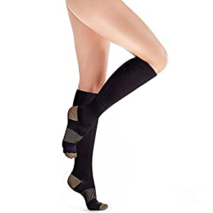 Copper Compression Knee High Recovery Support Socks, GUARANTEED Highest Copper Content! Best Copper Infused Fit Sock For Men and Women. Running, Calf, Diabetic, Swelling, Shin Splints. Shoe Size 9 -12