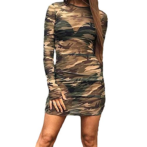 GOODBEE Womens Sexy Camouflage Mesh Pattern Crew-Neck Long Sleeve Bodycon Slim Mini Dress (L, Camo)