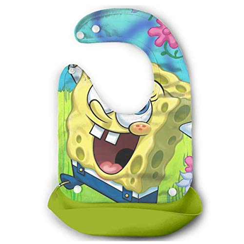Baby Bib Spongebob with Flower Waterproof Feeding Bibs for Babies and Toddlers with Comfort-Fit Fabric Neck Green ()