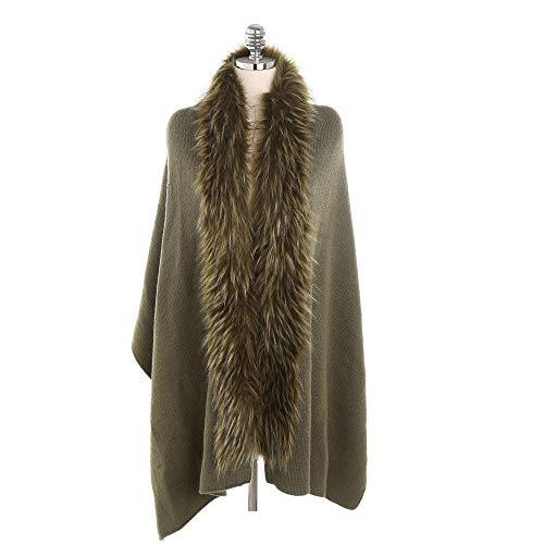LISTHA Fur Collar Cashmere Scarf Shawl Women Fashion Warm Cardigan Thickening