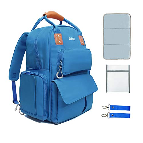 Becko Multifunctional Diaper Backpack/Diaper Bag/Adjustable Should Tote Bag with Changing Pad and Insulated Pocket (Blue)