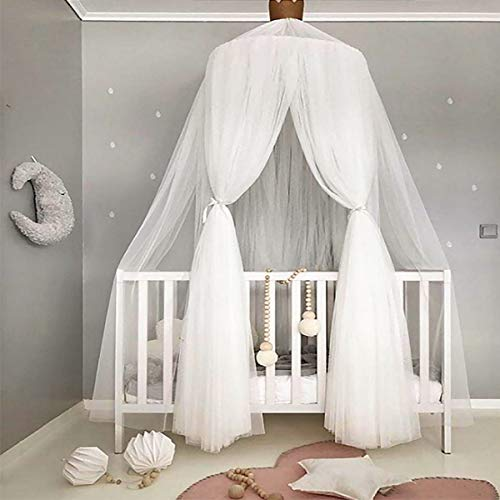 Jeteven Polyester Dome Princess Bed Canopy Kids Play Tent Mosquito Net with Crown for Baby Kids Indoor Outdoor Playing Reading Height 240cm/94.5in -