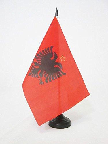 ALBANIENS TISCHFAHNE 14 x 21 cm flaggen AZ FLAG TISCHFLAGGE SOCIALISTISKE FOLKEREPUBLIK ALBANIEN 1946-1992 21x14cm