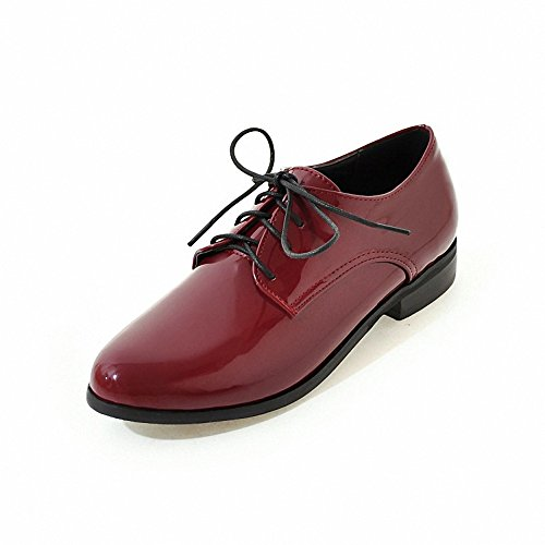 Shoes Wingtip leather oxford patent Hecater up Lace 2 Women's Red xnCZUU0qF